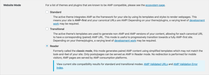 Choose Website AMP Mode