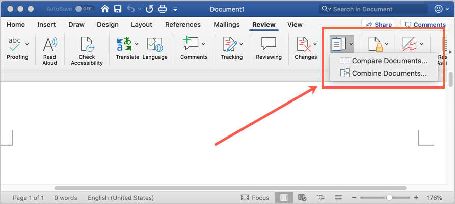Compare Documents Menu