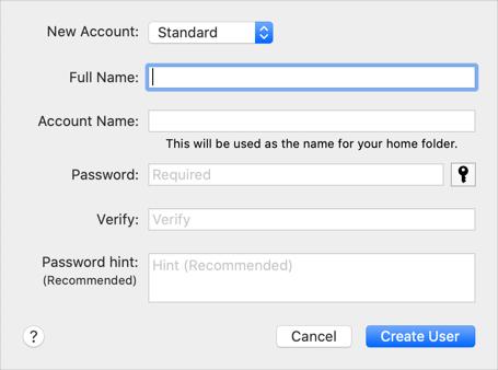 Create New User Account in Mac