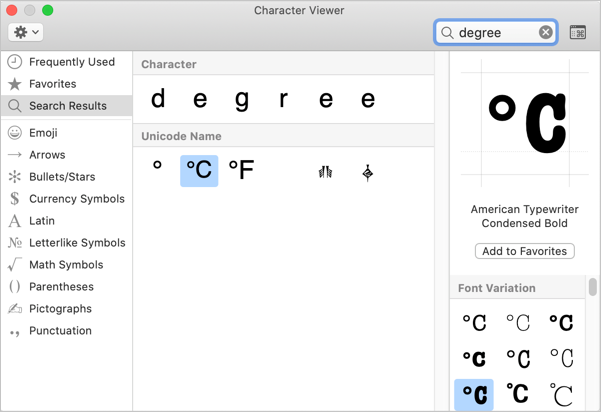 Degree Symbols in Mac
