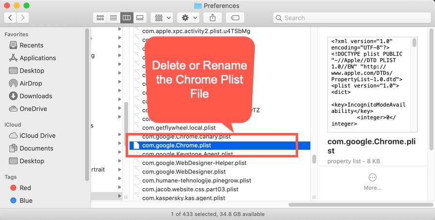 Delete Chrome Plist File