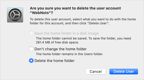 Deleting User Account in Mac