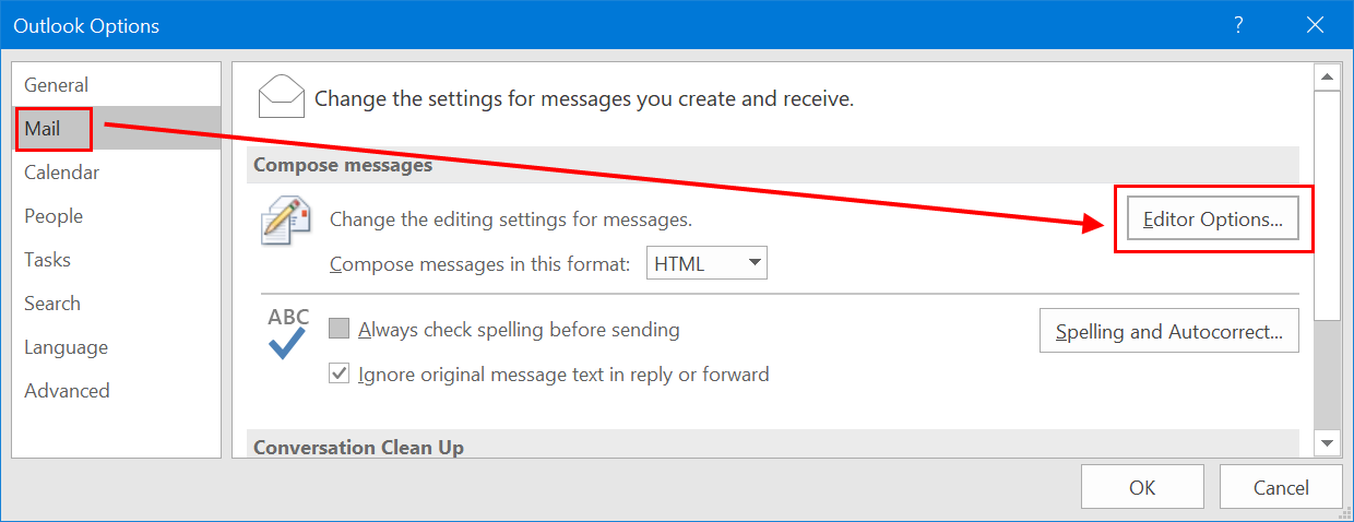 Editor Options in Outlook
