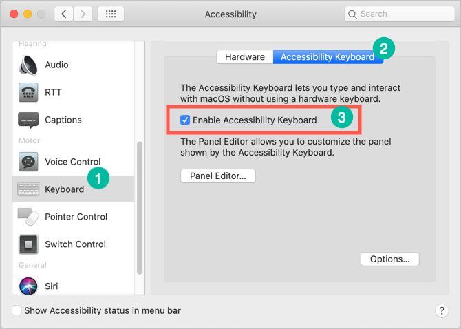 Enable Accessibility Keyboard in Mac