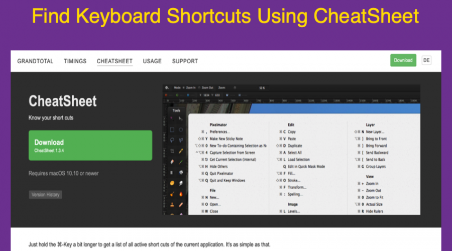 Find Keyboard Shortcuts of Any Apps in Mac with CheatSheet