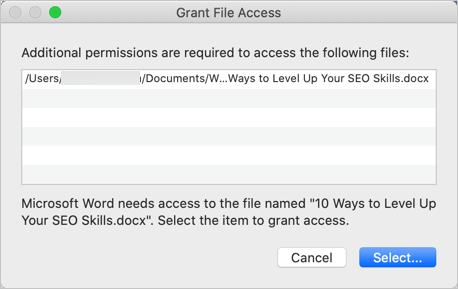 Grant File Access in macOS
