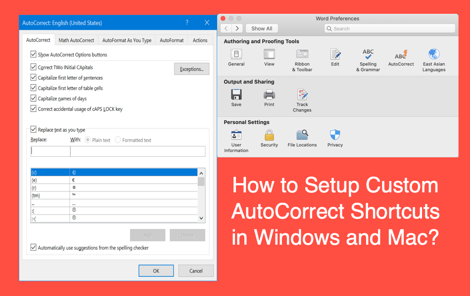 How to Setup Custom AutoCorrect Shortcuts in Windows and Mac