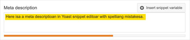 No Spelling Check in Meta Description