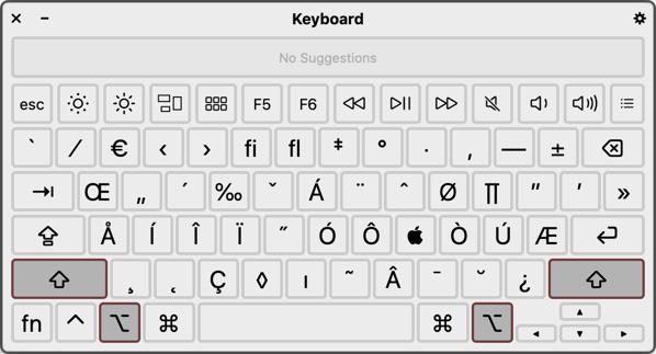 Option and Shift Key Shortcuts