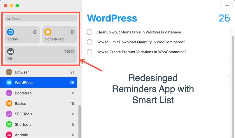 Reminders App in macOS Catalina