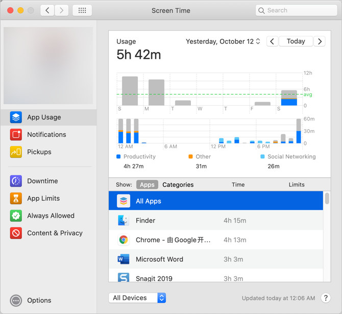 Screen Time in macOS Catalina