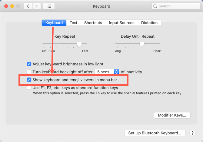 Show Keyboard and Emoji Viewers in Menu