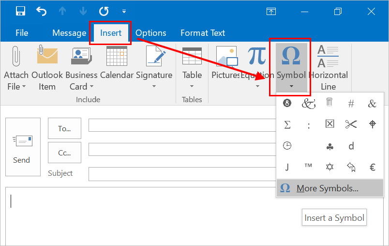 Symbol Menu in Outlook