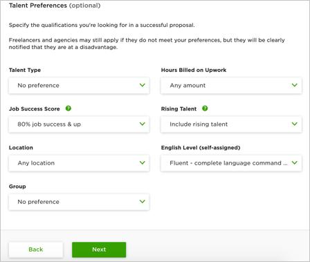 Talent Preferences Details
