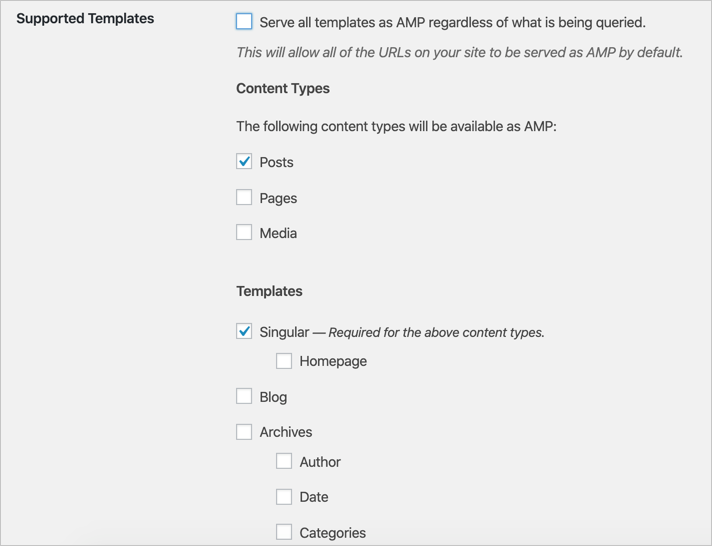 Transitional and Standard Mode Template Options