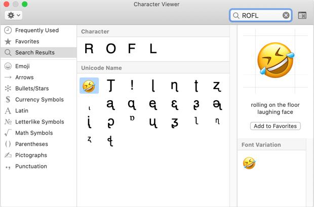 Mac'te ROFL Emoji yazın