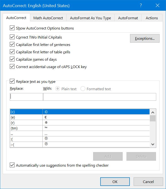 View AutoCorrect Shortcuts