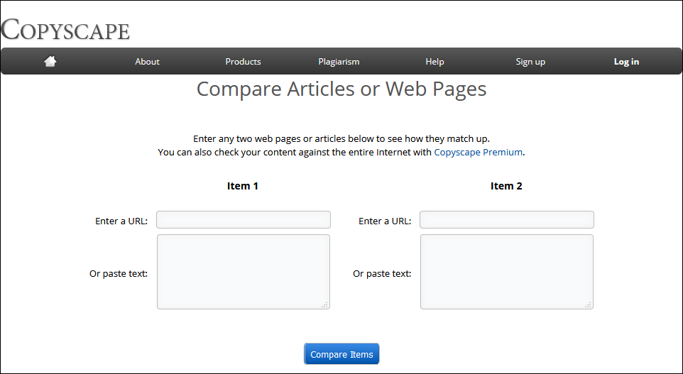 Copyscape Сравните две веб-страницы или статьи