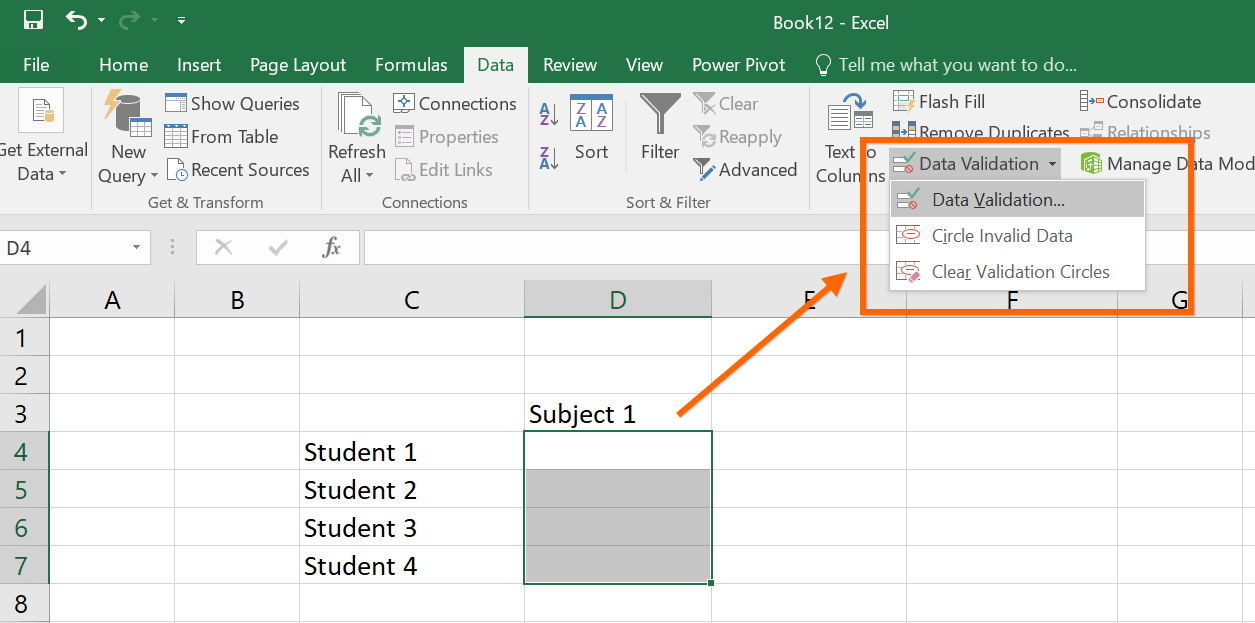 Creating Data Validation Rule in Excel
