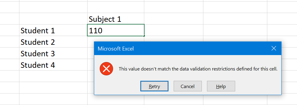 Data Not Allowed Due to Invalid Entries