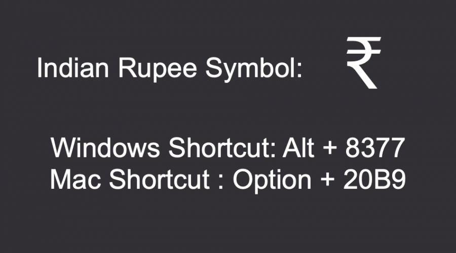 Keyboard Shortcuts for Indian Rupee Symbol