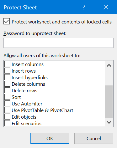 Protect Worksheet with Password