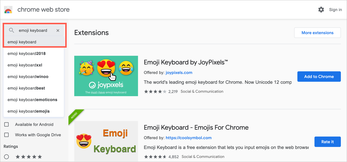 Search Emoji Keyboard Extensions in Chrome Web Store