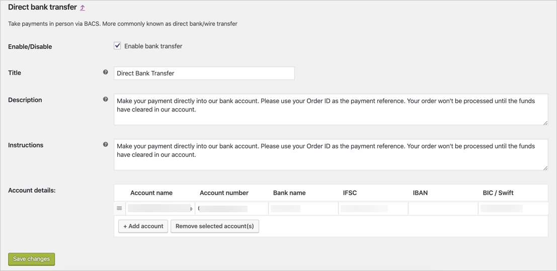 Setting Up Direct Bank Transfer