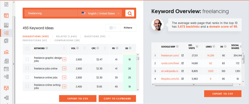 Ubersuggest long-tail keyword research
