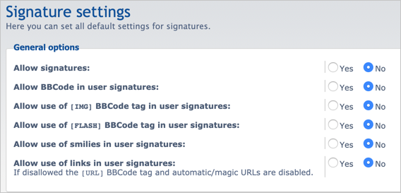 Disable Signature in phpBB Forum