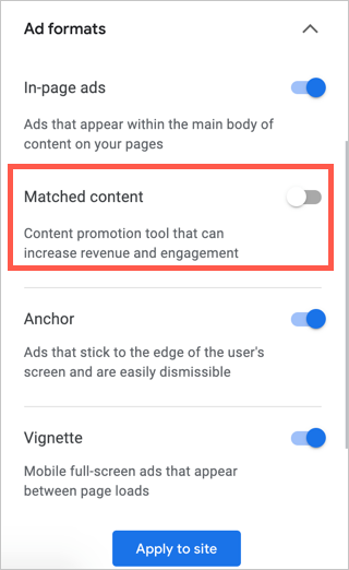 Enable Matched Content Ads from Auto Ads