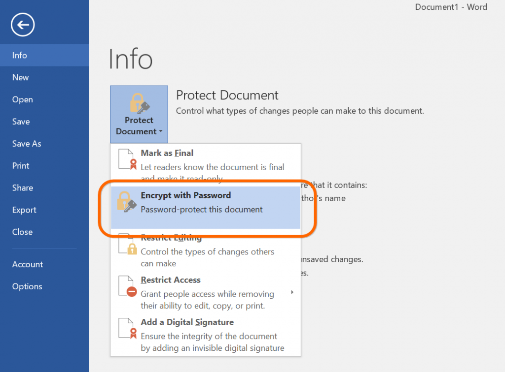 Encrypt with Password in Word