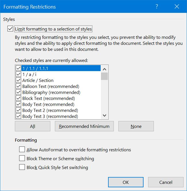 Limiting Formatting Styles
