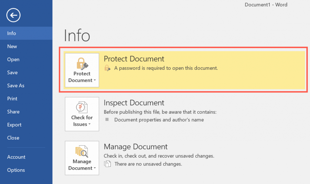 Password Protected Word Document