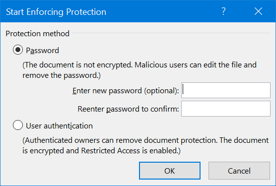 Password for Edit Restriction