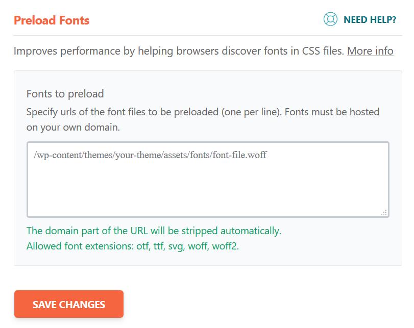 Preload Fonts in WP Rocket Plugin