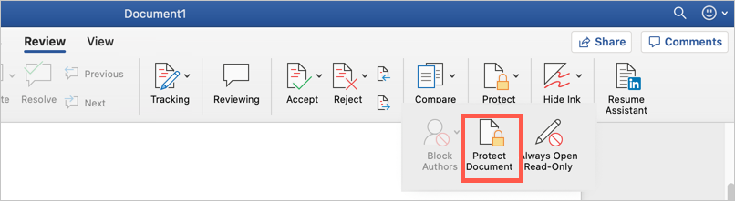 Protect Document Option in Word Mac