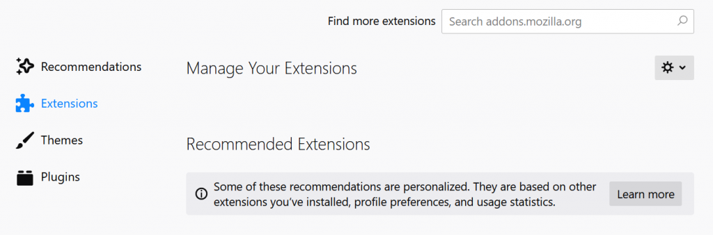 Remove Extensions in Firefox