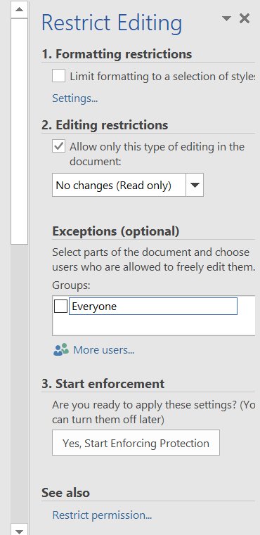 Restrict Editing in Word