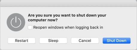 Shutdown Menu in Mac