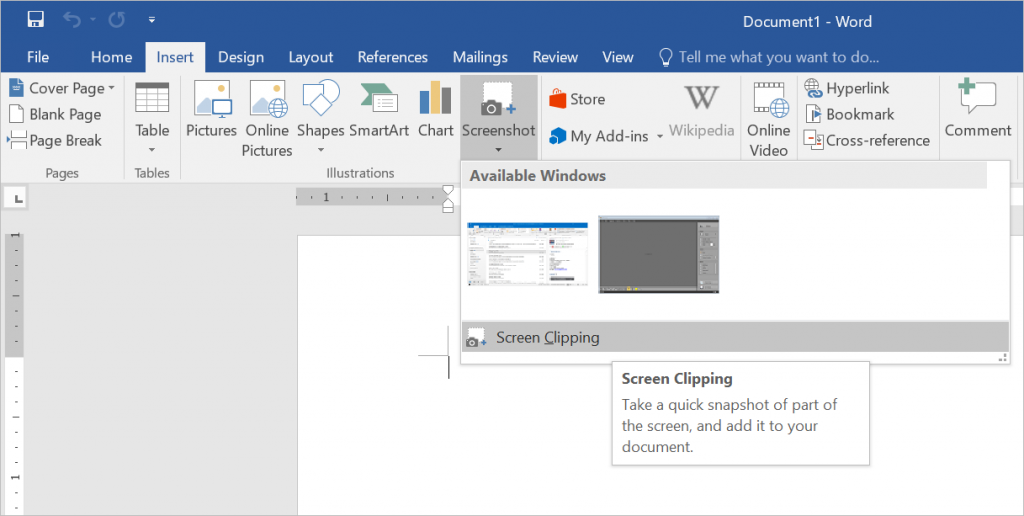 Take Screen Clipping in Word