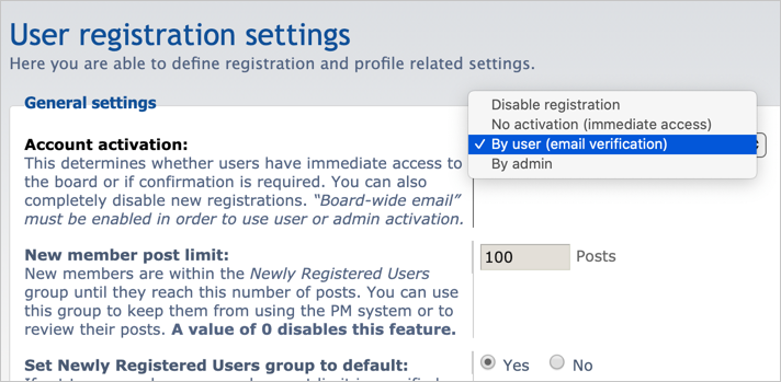 User Registration Settings in phpBB Forum