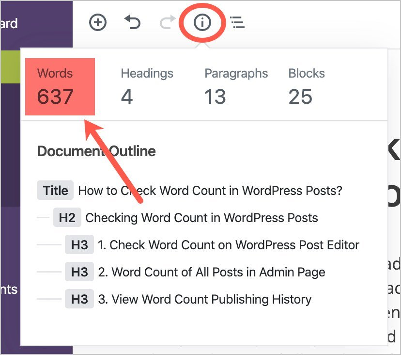 Word Count in Gutenberg Editor