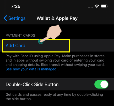 Add New Transport Card in iPhone
