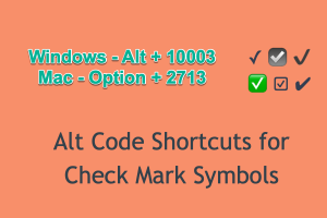 Alt Code Shortcuts for Check Mark