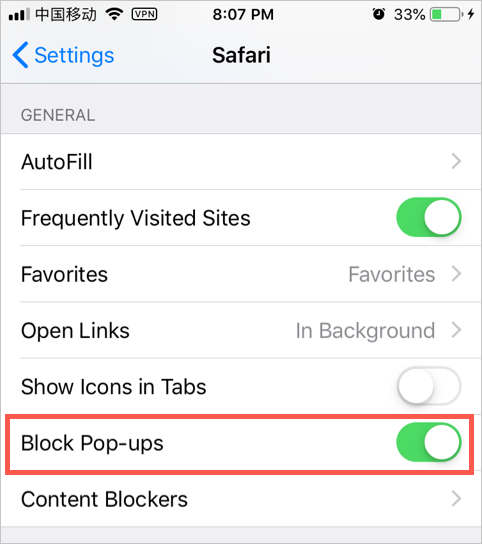 Block Pop-up in Safari Mobile