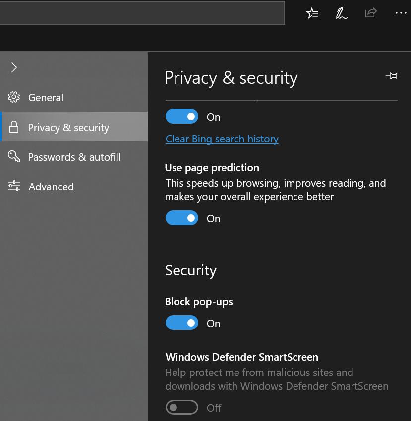 Block Pop-ups in Microsoft Edge