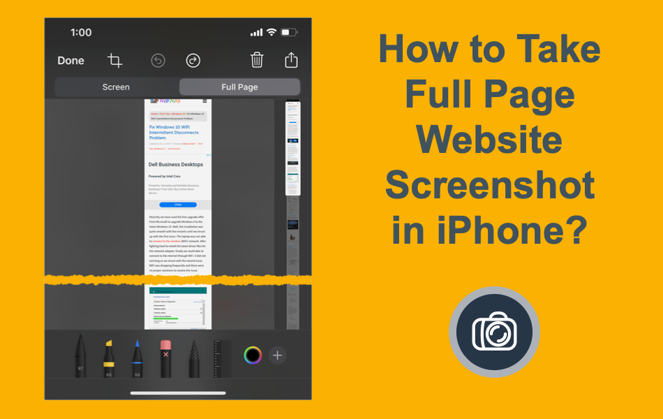 How to Take Full Page Website Screenshot in iPhone