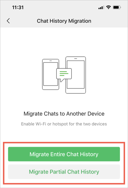 Migrate Entire or Partial Chat History