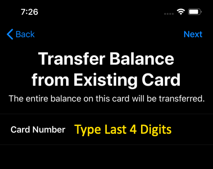 Type Card Number